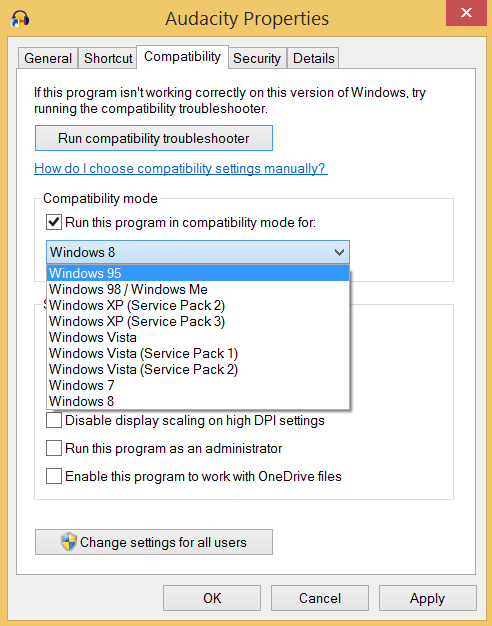Pop-up showing Compatibility Mode Options