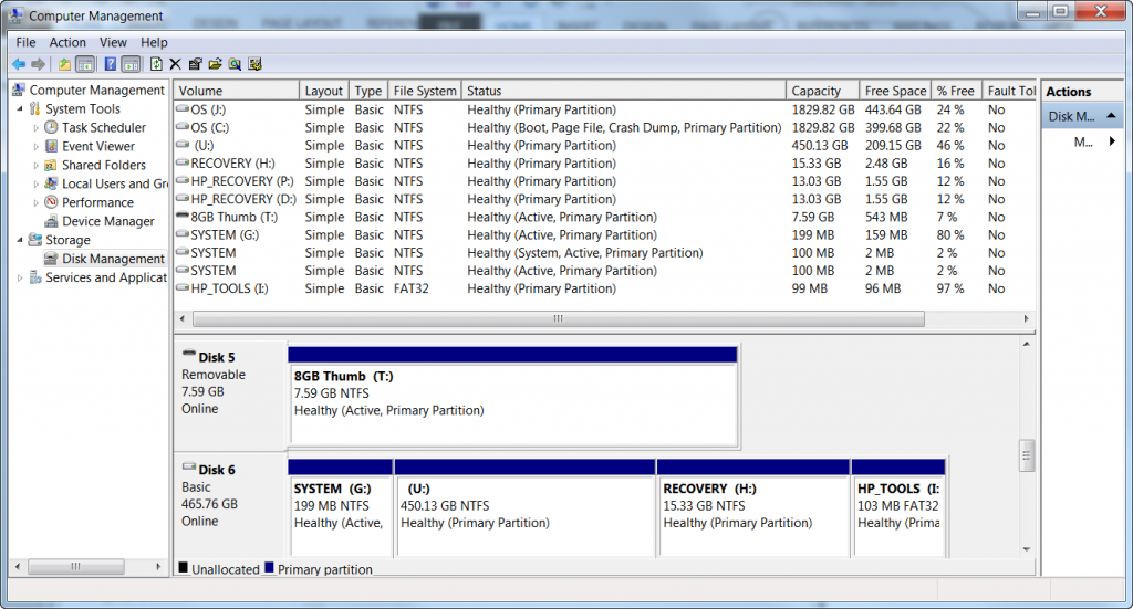 Screenshot of a Disk management console