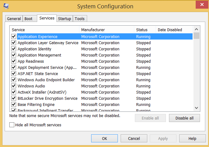 screenshot of Full Msconfig Services