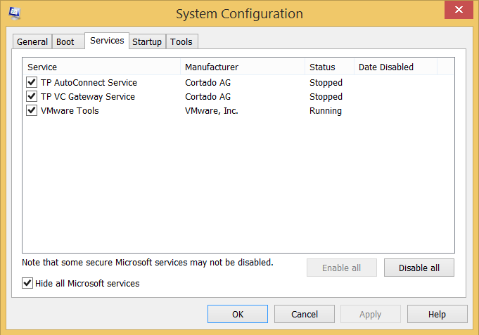 Screenshot of Hidden Microsoft Services View