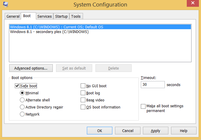 screenshot of MSConfig with Safeboot