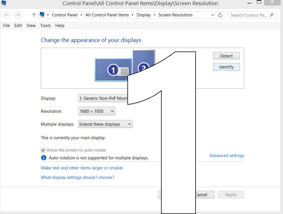 Screenshot of Multiple Monitor Settings