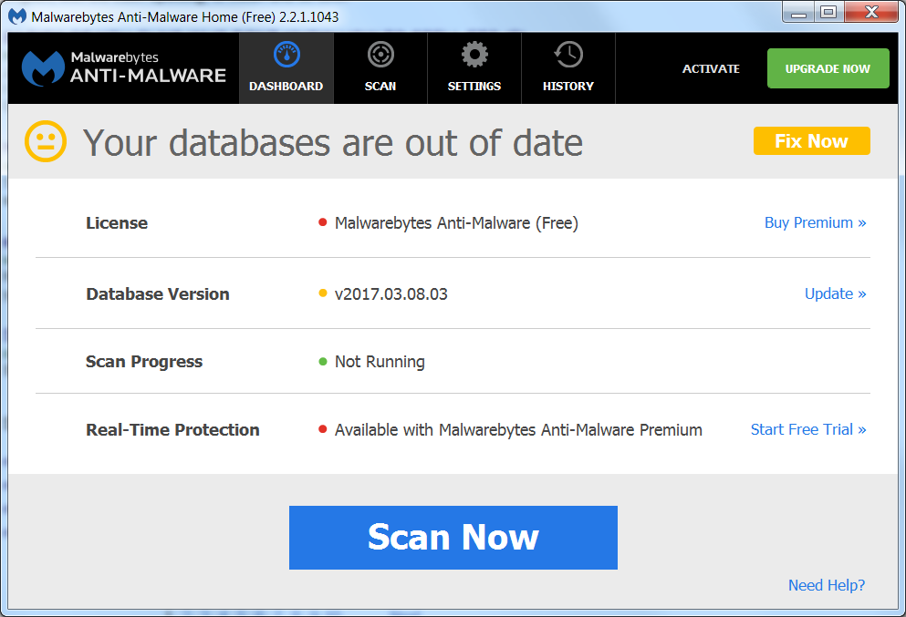 Screenshot of old antimalware definition database