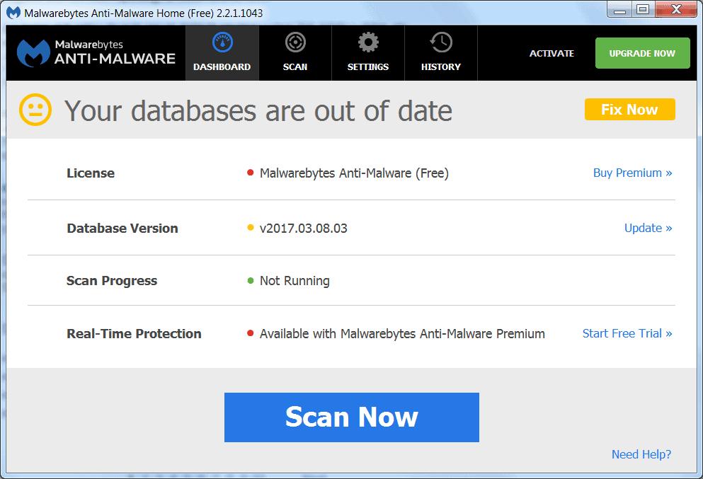 Screenshot of old antimalware definition database