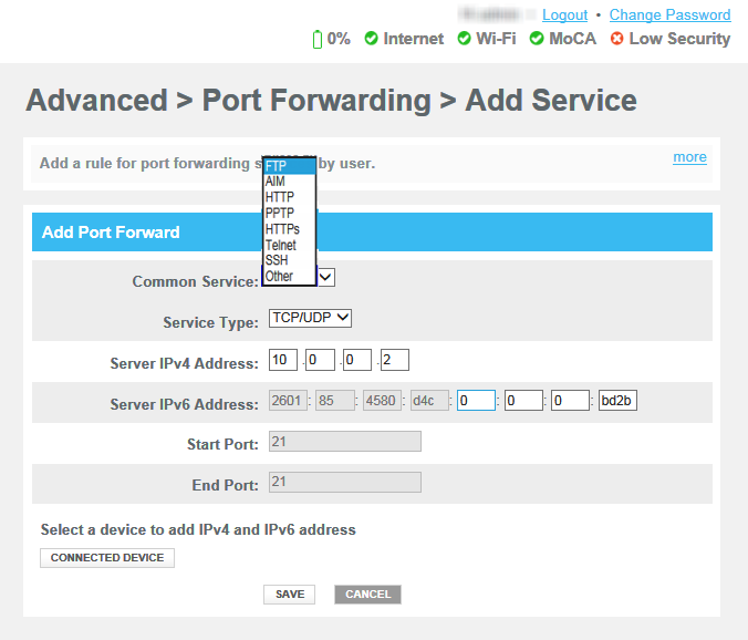 Screenshot of a Port Forwarding configfuration