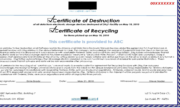 Comptia a exam 220 902 sub objective 3 6 data destruction for Certificate of disposal template