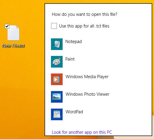 screenshot of Set File Type Association
