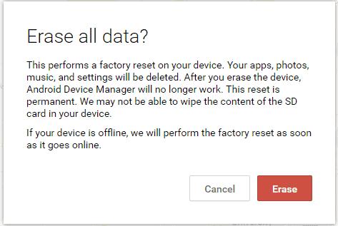 screenshot of Remote wipe