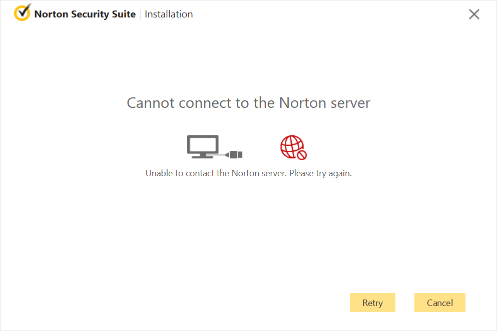 Screenshot of Antivirus Fails to Connect to Server