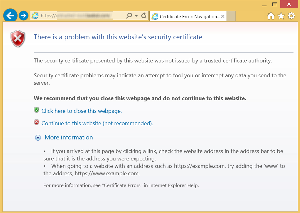 screenshot of Bad SSL Certificate