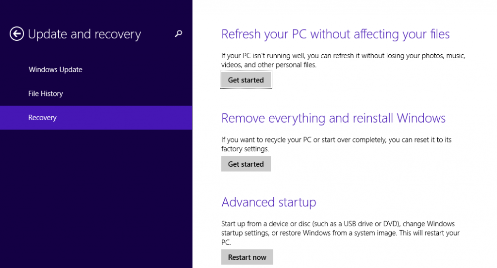 Screenshot of Windows 8 Update and Recovery