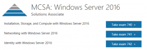 MCSA Windows Server 2016 Exams