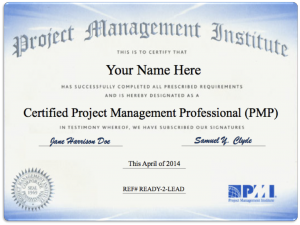 photo of a Project Management Professional certificate