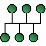 schematic illustrating a bus network topology