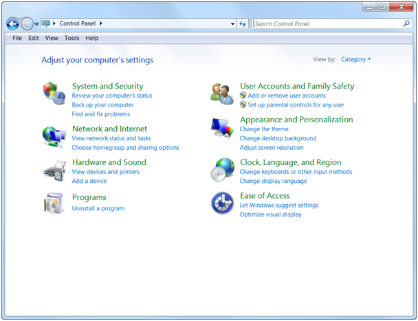 A screenshot of Windows 10 Control Panel in Category View.