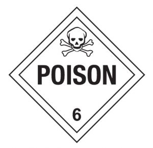 Graphic of an OSHA Class 6 placard denoting is material, other than a gas, which is known to be so toxic to humans as to afford a hazard to health during transportation.