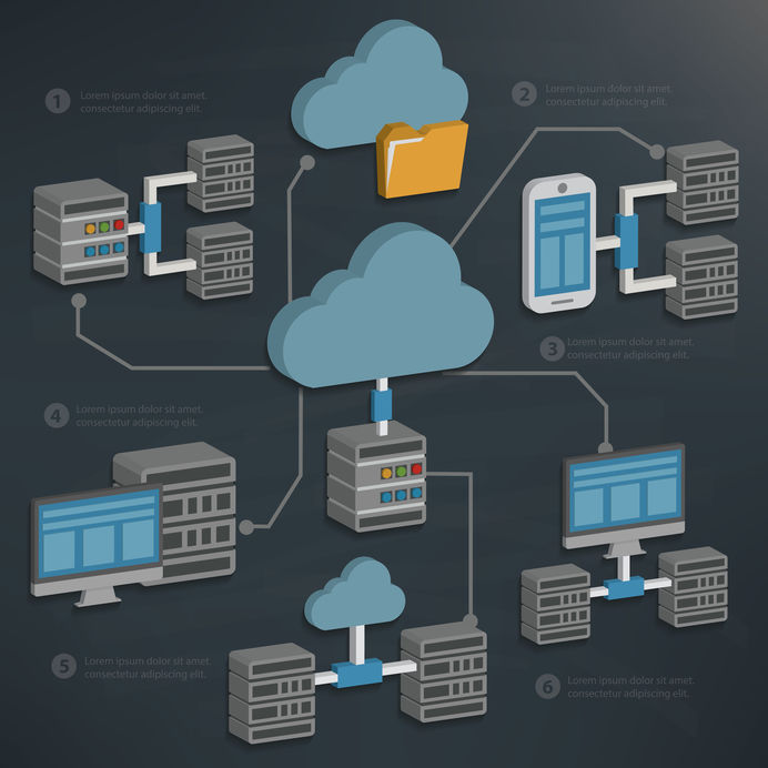 Graphic of database servers and other equipment connected over the cloud on a blackboard style background/