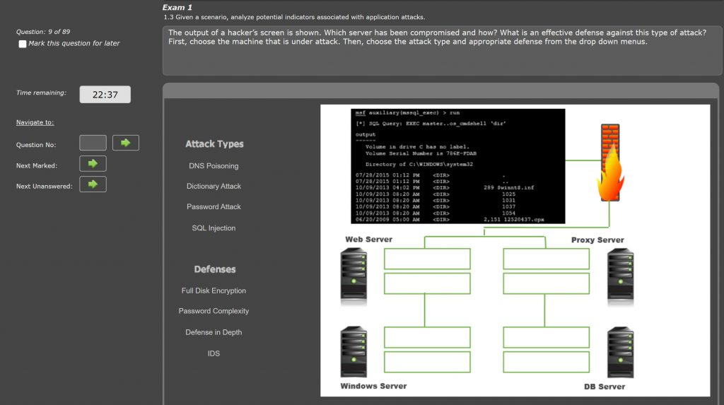 Screenshot showing the output of a hacker's machine. The student is to determine the server being attacked and the attack method, then the best defense based.