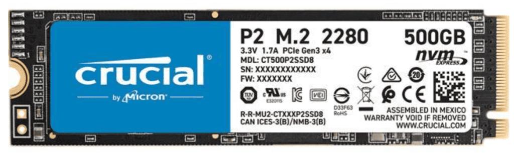 photo of a Micron 500 GB SSD