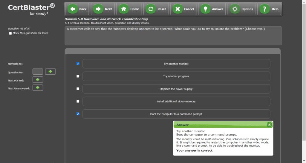 Screenshot of an A+ 1101 Multiple choice - multiple answer