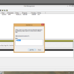 Screenshot of CertBlaster A+ 1101 Performance base question Disk Management console